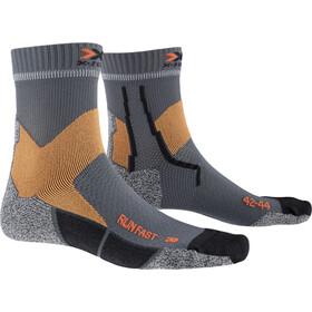 X-Socks Run Fast Calcetines, gris/naranja